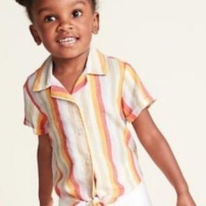 Toddler Girl Striped Linen Blouse